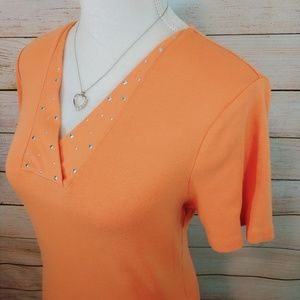 Light Orange Top Neckline Detailing Size Large